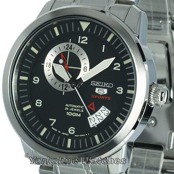 ed09be362 Seiko Sports Auto Black Face With Stainless Steel Bracelet SSA205J1